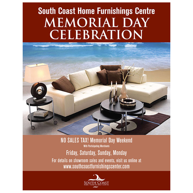Ad | South Coast Home Furnishings Memorial Day ad