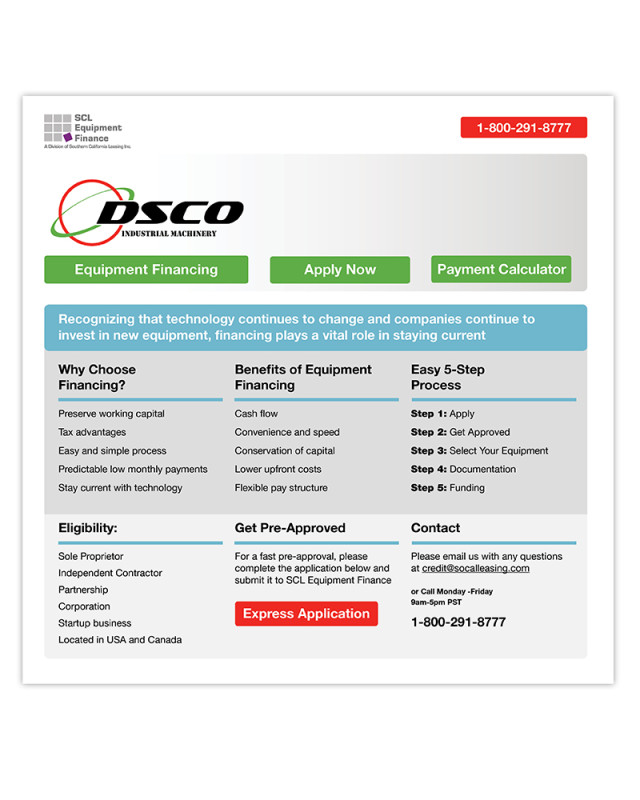 Landing Page | DSCO | SCL Equipment Finance