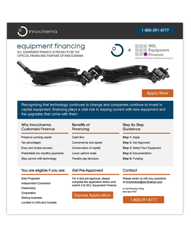 Landing Page | innocinema | SCL Equipment Finance