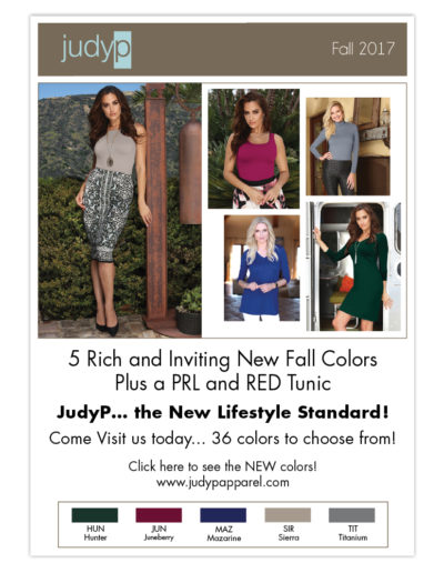 Email Marketing | JudyP Apparel Fall 2017 New Colors