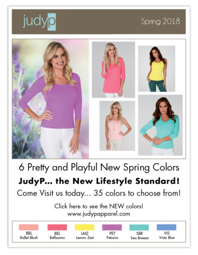 Email Marketing | JudyP Apparel Spring 2018 New Colors