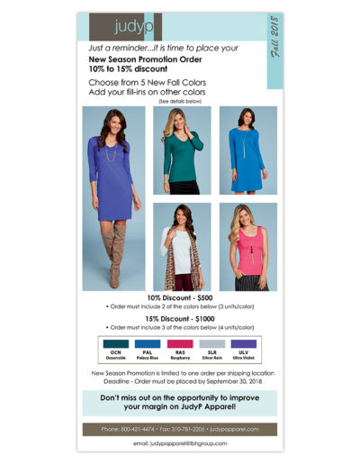 Email Marketing | JudyP Apparel Fall 2018 New Colors