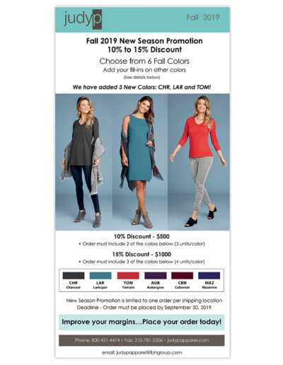 Email Marketing | JudyP Apparel Fall 2019 New Colors